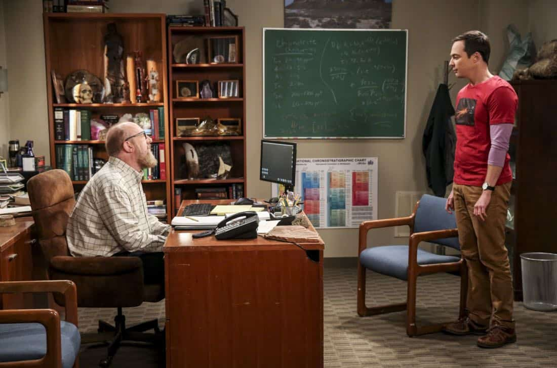 """""""The Geology Methodology"""" – Pictured: Bert (Brian Posehn) and Sheldon Cooper (Jim Parsons). Sheldon and Bert collaborate on a research project, despite Sheldon's embarrassment. Also, Penny and Bernadette coach Koothrappali on how to navigate his relationship with Ruchi (Swati Kapila), on THE BIG BANG THEORY, Thursday, Nov. 9 (8:00-8:31 PM, ET/PT), on the CBS Television Network. Photo: Michael Yarish/Warner Bros. Entertainment Inc. © 2017 WBEI. All rights reserved."""