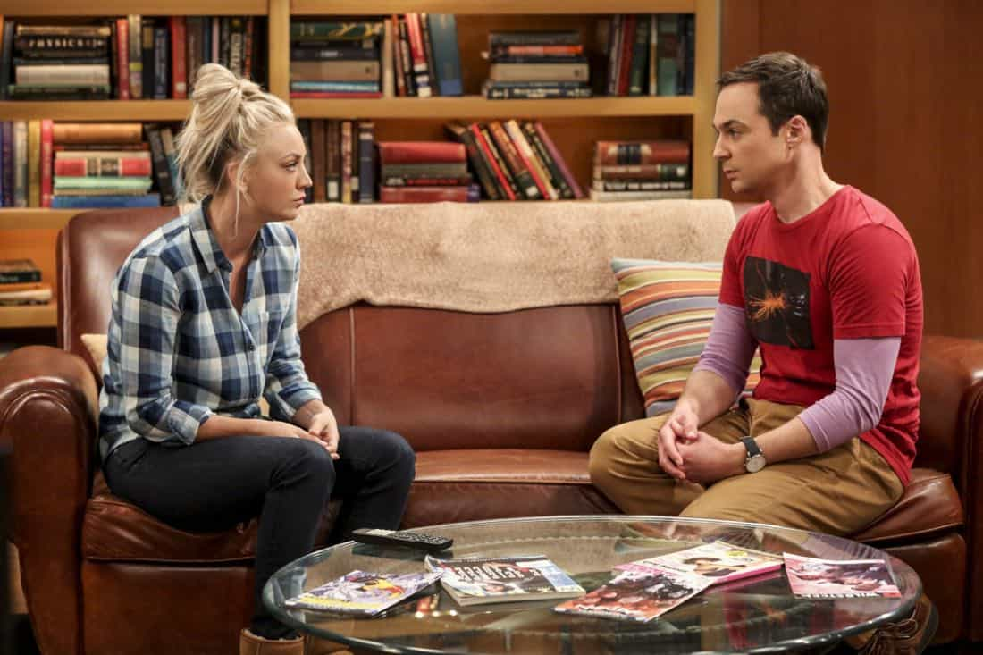"""""""The Geology Methodology"""" – Pictured: Penny (Kaley Cuoco) and Sheldon Cooper (Jim Parsons). Sheldon and Bert collaborate on a research project, despite Sheldon's embarrassment. Also, Penny and Bernadette coach Koothrappali on how to navigate his relationship with Ruchi (Swati Kapila), on THE BIG BANG THEORY, Thursday, Nov. 9 (8:00-8:31 PM, ET/PT), on the CBS Television Network. Photo: Michael Yarish/Warner Bros. Entertainment Inc. © 2017 WBEI. All rights reserved."""