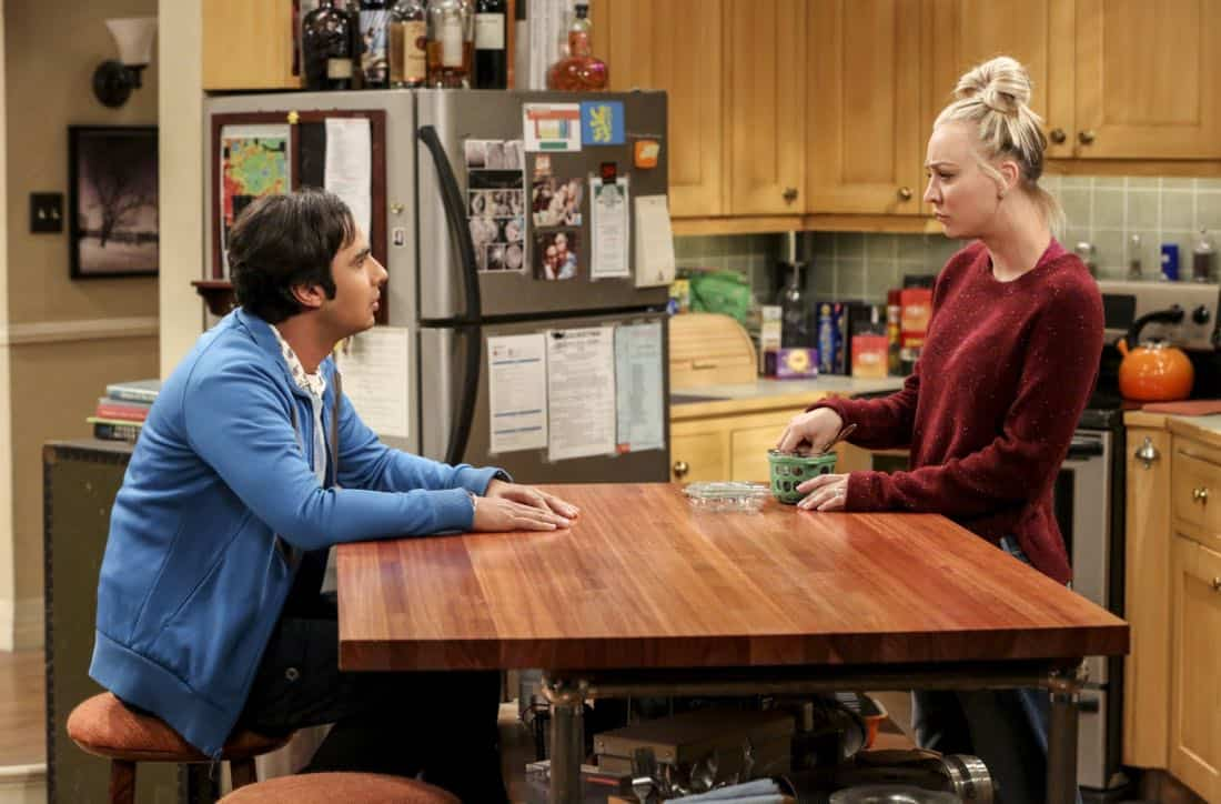 """The Geology Methodology"" – Pictured: Rajesh Koothrappali (Kunal Nayyar) and Penny (Kaley Cuoco). Sheldon and Bert collaborate on a research project, despite Sheldon's embarrassment. Also, Penny and Bernadette coach Koothrappali on how to navigate his relationship with Ruchi (Swati Kapila), on THE BIG BANG THEORY, Thursday, Nov. 9 (8:00-8:31 PM, ET/PT), on the CBS Television Network. Photo: Michael Yarish/Warner Bros. Entertainment Inc. © 2017 WBEI. All rights reserved."
