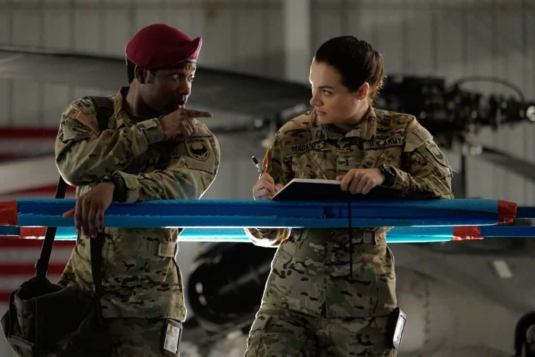 "Valor -- ""Full Battle Rattle"" -- Image Number: VAL105a_0066.jpg -- Pictured (L-R): W. Tre Davis as Jimmy and Christina Ochoa as Nora -- Photo: Jace Downs/The CW -- © 2017 The CW Network. All Rights Reserved."