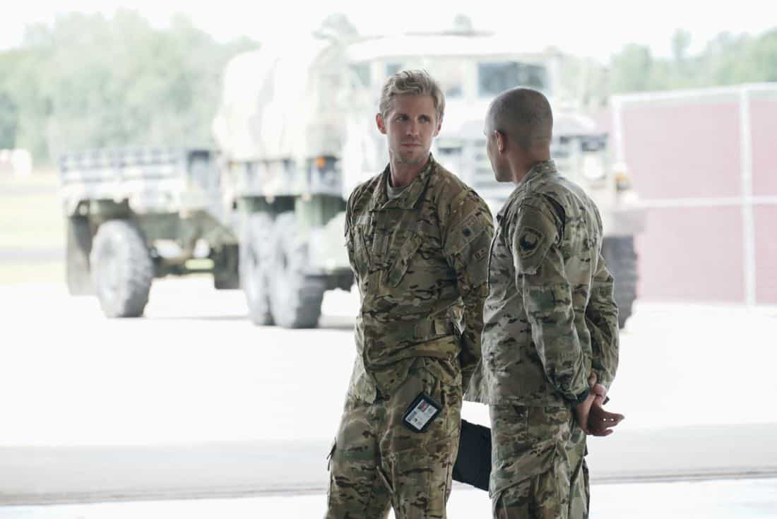 "Valor -- ""Full Battle Rattle"" -- Image Number: VAL105a_0229.jpg -- Pictured (L-R): Matt Barr as Gallo and Nigél Thatch as Colonel Robert Haskins -- Photo: Jace Downs/The CW -- © 2017 The CW Network. All Rights Reserved."