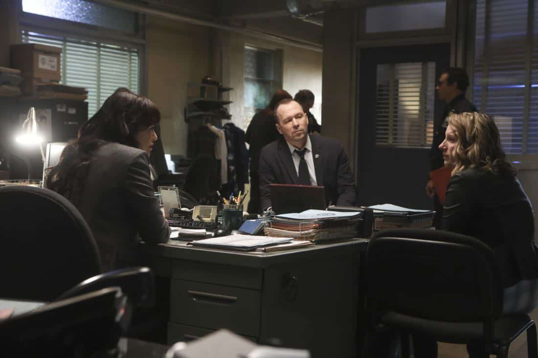"""""""Common Ground"""" – A case turns personal for Danny when he works to protect a nurse, Faith Madson (Jessie Mueller), from her violent ex-boyfriend. Also, Shelly Wayne (Cassandra Freeman), an acquaintance of Frank's, comes to him with a theory regarding the death of an inmate, and Jamie and Eddie help deliver a baby, on BLUE BLOODS, Friday, Nov. 10 (10:00-11:00 PM, ET/PT) on the CBS Television Network. Pictured: Marisa Ramirez, Donnie Wahlberg. Photo: Craig Blankenhorn/CBS ©2016 CBS Broadcasting Inc. All Rights Reserved."""