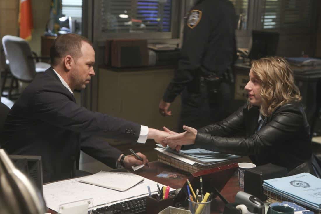 """""""Common Ground"""" – A case turns personal for Danny when he works to protect a nurse, Faith Madson (Jessie Mueller), from her violent ex-boyfriend. Also, Shelly Wayne (Cassandra Freeman), an acquaintance of Frank's, comes to him with a theory regarding the death of an inmate, and Jamie and Eddie help deliver a baby, on BLUE BLOODS, Friday, Nov. 10 (10:00-11:00 PM, ET/PT) on the CBS Television Network. Pictured: Donnie Wahlberg, Jessie Mueller. Photo: Craig Blankenhorn/CBS ©2016 CBS Broadcasting Inc. All Rights Reserved."""