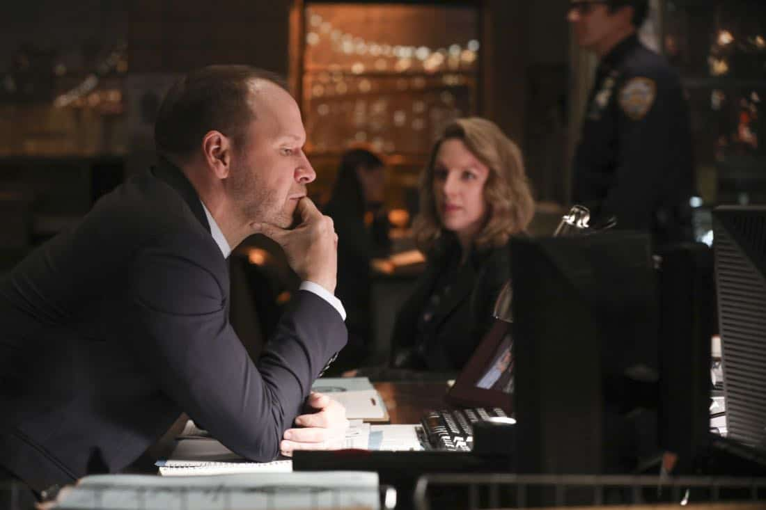 """Common Ground"" – A case turns personal for Danny when he works to protect a nurse, Faith Madson (Jessie Mueller), from her violent ex-boyfriend. Also, Shelly Wayne (Cassandra Freeman), an acquaintance of Frank's, comes to him with a theory regarding the death of an inmate, and Jamie and Eddie help deliver a baby, on BLUE BLOODS, Friday, Nov. 10 (10:00-11:00 PM, ET/PT) on the CBS Television Network. Pictured:  Donnie Wahlberg, Jessie Mueller. Photo: Craig Blankenhorn/CBS ©2016 CBS Broadcasting Inc. All Rights Reserved."