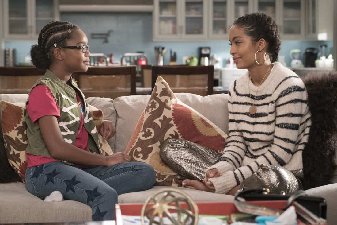 "BLACK-ISH - ""First and Last"" - Diane experiences a big life event toward becoming a woman and Bow, Ruby, Zoey and Alicia are there to support her. Meanwhile, afraid that he may never be able to beat Junior at basketball again, Dre conducts psychological warfare on Junior before challenging him to a game, on ""black-ish,"" TUESDAY, NOV. 7 (9:00-9:30 p.m. EST), on The ABC Television Network. (ABC/Eric McCandless) MARSAI MARTIN, YARA SHAHIDI"
