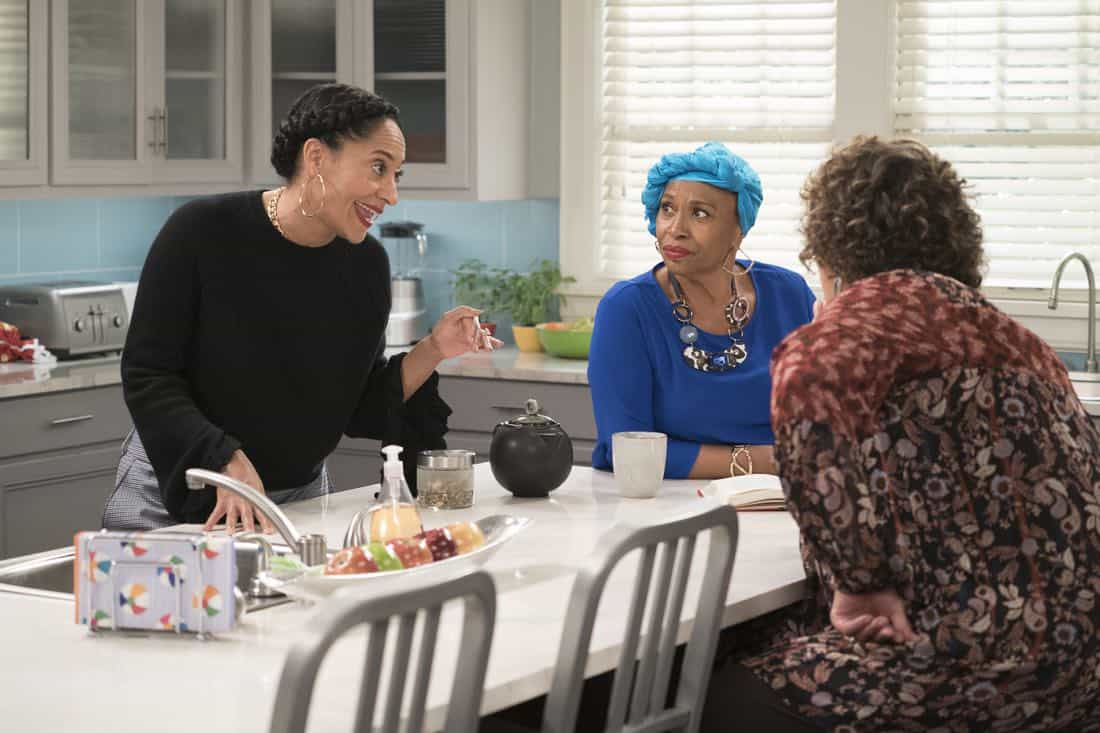 "BLACK-ISH - ""First and Last"" - Diane experiences a big life event toward becoming a woman and Bow, Ruby, Zoey and Alicia are there to support her. Meanwhile, afraid that he may never be able to beat Junior at basketball again, Dre conducts psychological warfare on Junior before challenging him to a game, on ""black-ish,"" TUESDAY, NOV. 7 (9:00-9:30 p.m. EST), on The ABC Television Network. (ABC/Eric McCandless) TRACEE ELLIS ROSS, JENIFER LEWIS, ANNA DEAVERE SMITH"