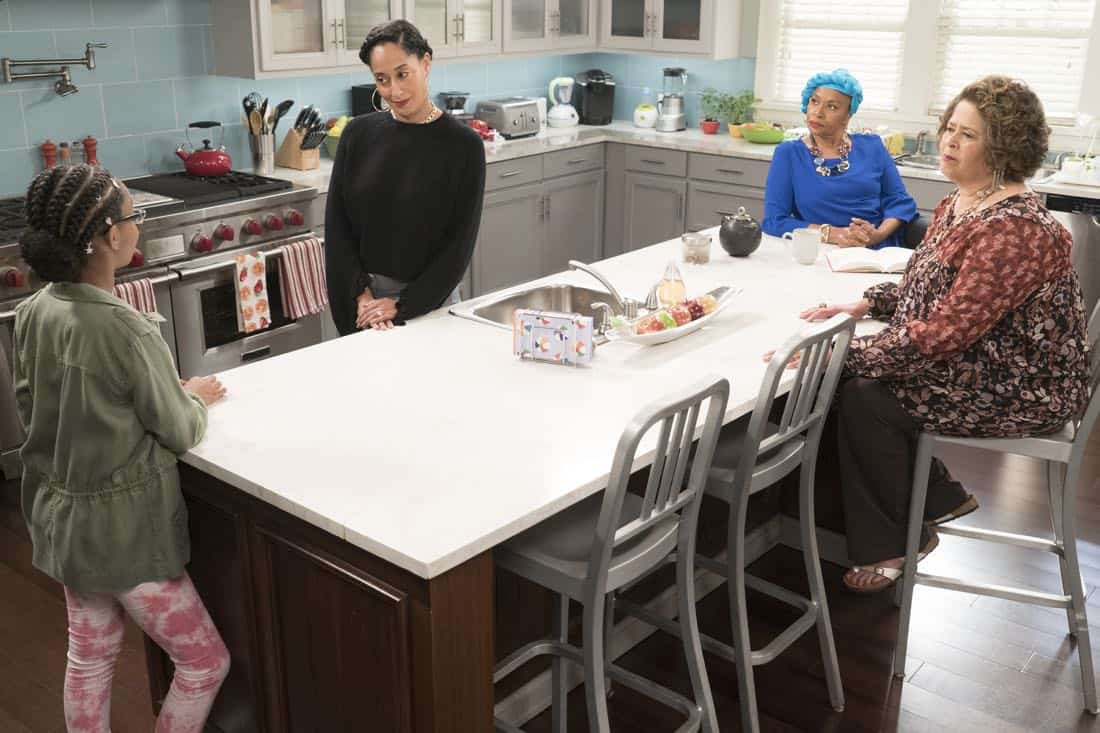 "BLACK-ISH - ""First and Last"" - Diane experiences a big life event toward becoming a woman and Bow, Ruby, Zoey and Alicia are there to support her. Meanwhile, afraid that he may never be able to beat Junior at basketball again, Dre conducts psychological warfare on Junior before challenging him to a game, on ""black-ish,"" TUESDAY, NOV. 7 (9:00-9:30 p.m. EST), on The ABC Television Network. (ABC/Eric McCandless) MARSAI MARTIN, TRACEE ELLIS ROSS, JENIFER LEWIS, ANNA DEAVERE SMITH"