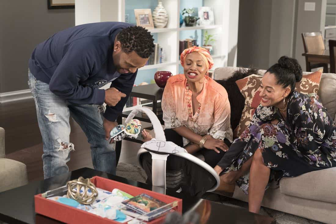 "BLACK-ISH - ""First and Last"" - Diane experiences a big life event toward becoming a woman and Bow, Ruby, Zoey and Alicia are there to support her. Meanwhile, afraid that he may never be able to beat Junior at basketball again, Dre conducts psychological warfare on Junior before challenging him to a game, on ""black-ish,"" TUESDAY, NOV. 7 (9:00-9:30 p.m. EST), on The ABC Television Network. (ABC/Eric McCandless) ANTHONY ANDERSON, JENIFER LEWIS, TRACEE ELLIS ROSS"