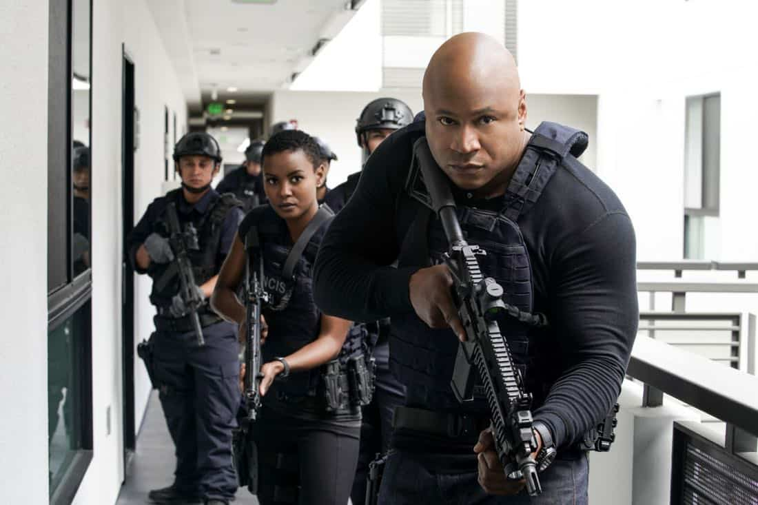 """""""The Silo"""" – Pictured: Andrea Bordeaux (NCIS Special Agent Harley Hidoko) and LL COOL J (Special Agent Sam Hanna). After an Air Force captain Kensi dated a decade ago breaches a missile launch facility, she is transported to the location to help thwart the use of nuclear weapons, on NCIS: LOS ANGELES, Sunday, Nov. 12 (9:00-10:00 PM, ET/PT) on the CBS Television Network. Photo: Erik Voake/CBS ©2017 CBS Broadcasting, Inc. All Rights Reserved."""
