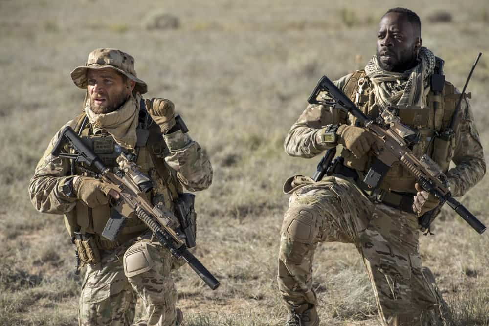 "THE BRAVE -- ""Stealth"" Episode 108 -- Pictured: (l-r) Mike Vogel as Captain Adam Dalton, Demetrius Grosse as CPO Ezekiel ""Preach"" Carter -- (Photo by: Lewis Jacobs/NBC)"