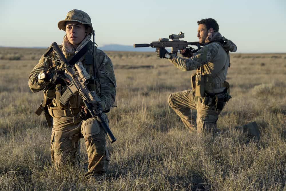 "THE BRAVE -- ""Stealth"" Episode 108 -- Pictured: (l-r) Natacha Karam as Sergeant Jasmine ""Jaz"" Khan, Noah Mills as Sergeant Joseph ""McG"" McGuire -- (Photo by: Lewis Jacobs/NBC)"