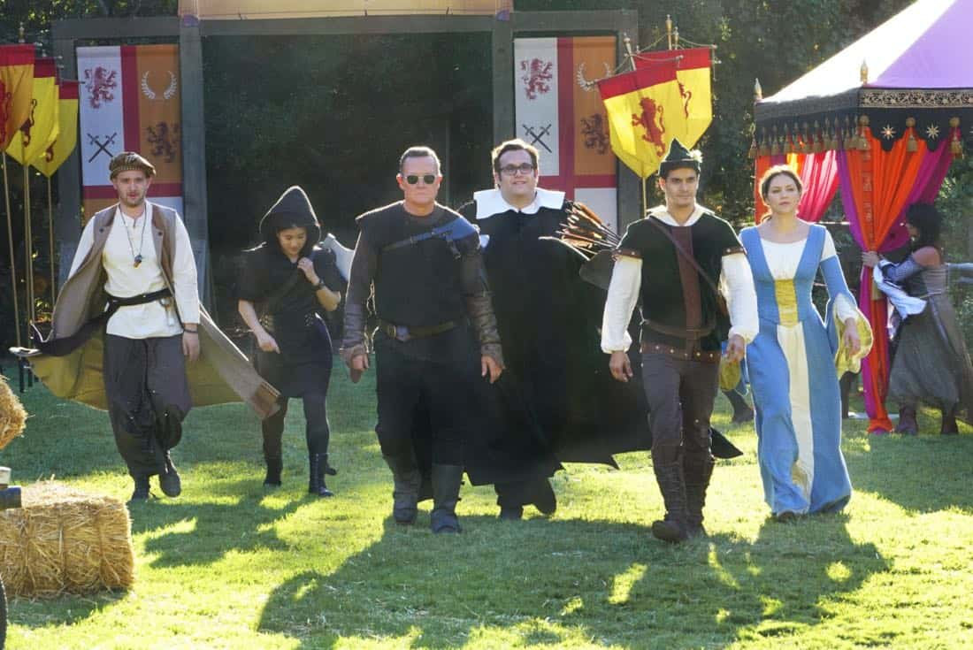 """Faire is Foul"" -- For Sylvester's birthday, Team Scorpion visits a renaissance festival, but the revelry is cut short when a group tries to rob a nearby police evidence locker. Also, Paige grows weary of Walter's play-by-play of all the historical inaccuracies at the festival, on SCORPION, Monday, Nov. 13 (10:00-11:00 PM, ET/PT) on the CBS Television Network. Pictured: Eddie Kaye Thomas, Jadyn Wong, Robert Patrick, Ari Stidham, Elyes Gabel, Katharine McPhee. Photo: Bill Inoshita/CBS ©2017 CBS Broadcasting, Inc. All Rights Reserved"