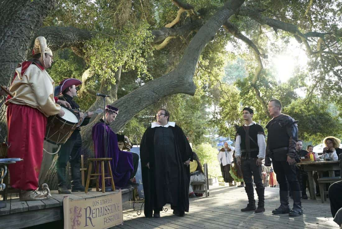 """Faire is Foul"" -- For Sylvester's birthday, Team Scorpion visits a renaissance festival, but the revelry is cut short when a group tries to rob a nearby police evidence locker. Also, Paige grows weary of Walter's play-by-play of all the historical inaccuracies at the festival, on SCORPION, Monday, Nov. 13 (10:00-11:00 PM, ET/PT) on the CBS Television Network. Pictured:  Ari Stidham, Elyes Gabel, Robert Patrick.  Photo: Bill Inoshita/CBS ©2017 CBS Broadcasting, Inc. All Rights Reserved"