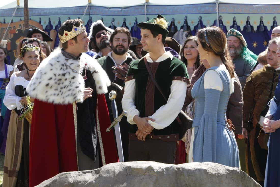 """Faire is Foul"" -- For Sylvester's birthday, Team Scorpion visits a renaissance festival, but the revelry is cut short when a group tries to rob a nearby police evidence locker. Also, Paige grows weary of Walter's play-by-play of all the historical inaccuracies at the festival, on SCORPION, Monday, Nov. 13 (10:00-11:00 PM, ET/PT) on the CBS Television Network. Pictured:  Brandon Barash, Elyes Gabel, Katharine McPhee.   Photo: Bill Inoshita/CBS ©2017 CBS Broadcasting, Inc. All Rights Reserved"