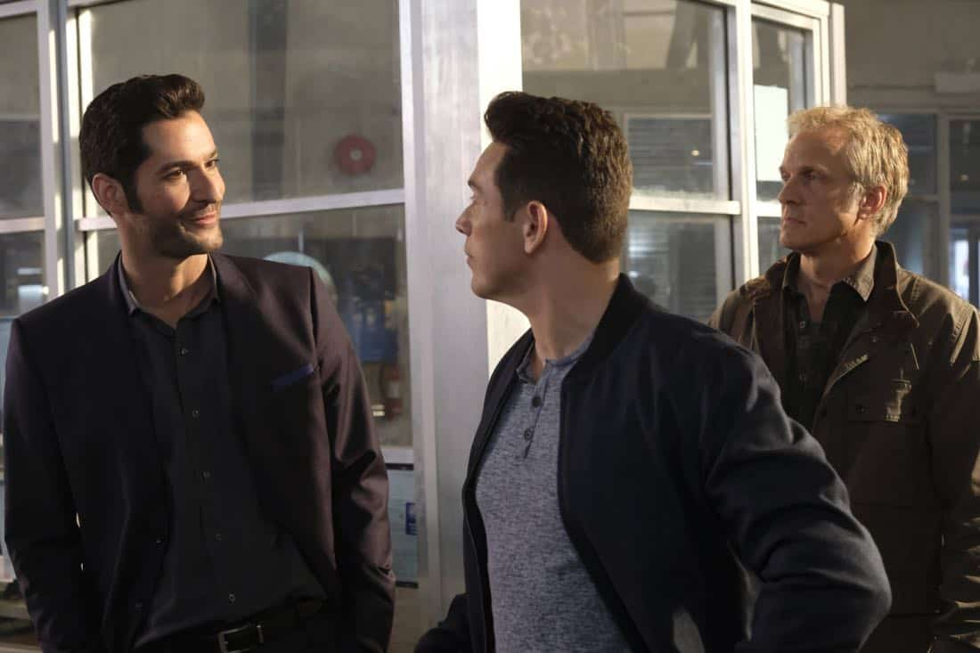 "LUCIFER: L-R: Tom Ellis, Kevin Alejandro and guest star Patrick Fabian in the ""Off The Record"" episode of LUCIFER airing Monday, Nov. 13 (8:00-9:00 PM ET/PT) on FOX. CR:  Michael Courtney/FOX"
