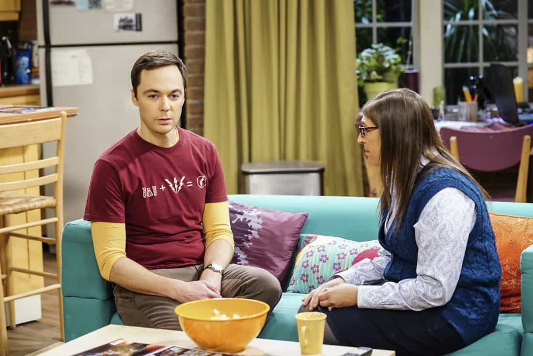 """""""The Tesla Recoil"""" -- Pictured: Sheldon Cooper (Jim Parsons) and Amy Farrah Fowler (Mayim Bialik). Leonard and Wolowitz are furious after they learn Sheldon went to work with the military behind their backs. Also, while Bernadette is on bed rest, she asks Raj to do some digging when she suspects Ruchi is trying to steal her job, on THE BIG BANG THEORY, Thursday, Nov. 16 (8:00-8:31 PM, ET/PT) on the CBS Television Network. Photo: Sonja Flemming/CBS ©2017 CBS Broadcasting, Inc. All Rights Reserved."""