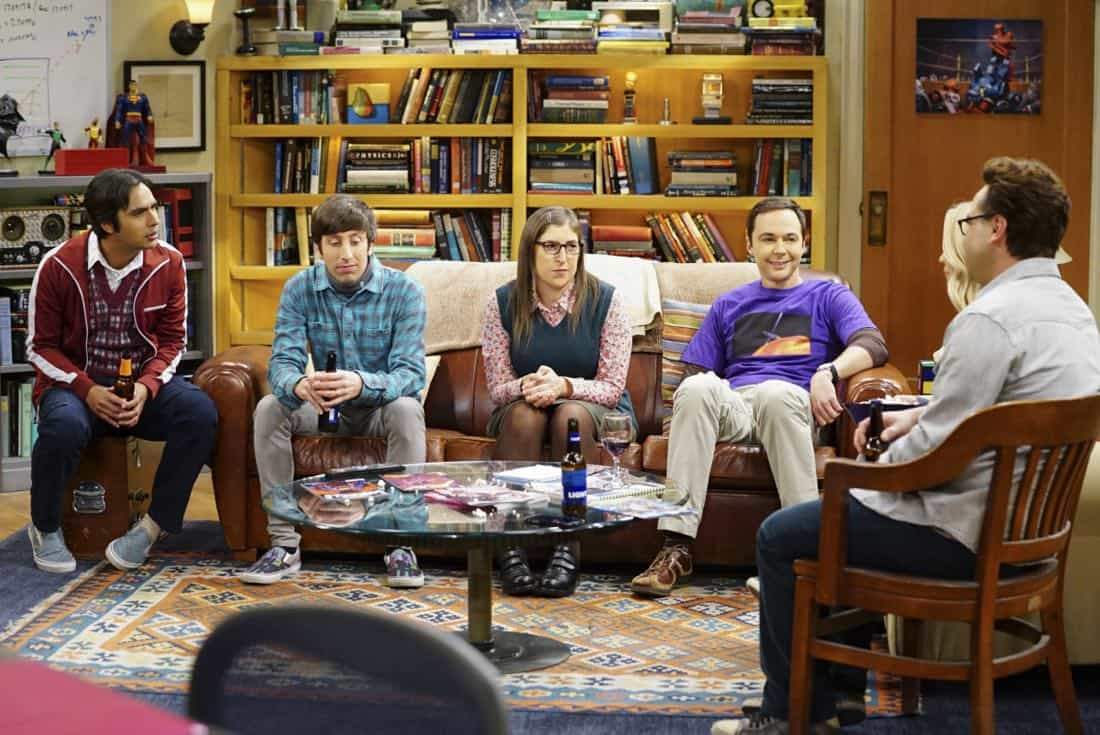 """""""The Tesla Recoil"""" -- Pictured: Rajesh Koothrappali (Kunal Nayyar), Howard Wolowitz (Simon Helberg), Amy Farrah Fowler (Mayim Bialik) and Sheldon Cooper (Jim Parsons). Leonard and Wolowitz are furious after they learn Sheldon went to work with the military behind their backs. Also, while Bernadette is on bed rest, she asks Raj to do some digging when she suspects Ruchi is trying to steal her job, on THE BIG BANG THEORY, Thursday, Nov. 16 (8:00-8:31 PM, ET/PT) on the CBS Television Network. Photo: Sonja Flemming/CBS ©2017 CBS Broadcasting, Inc. All Rights Reserved."""