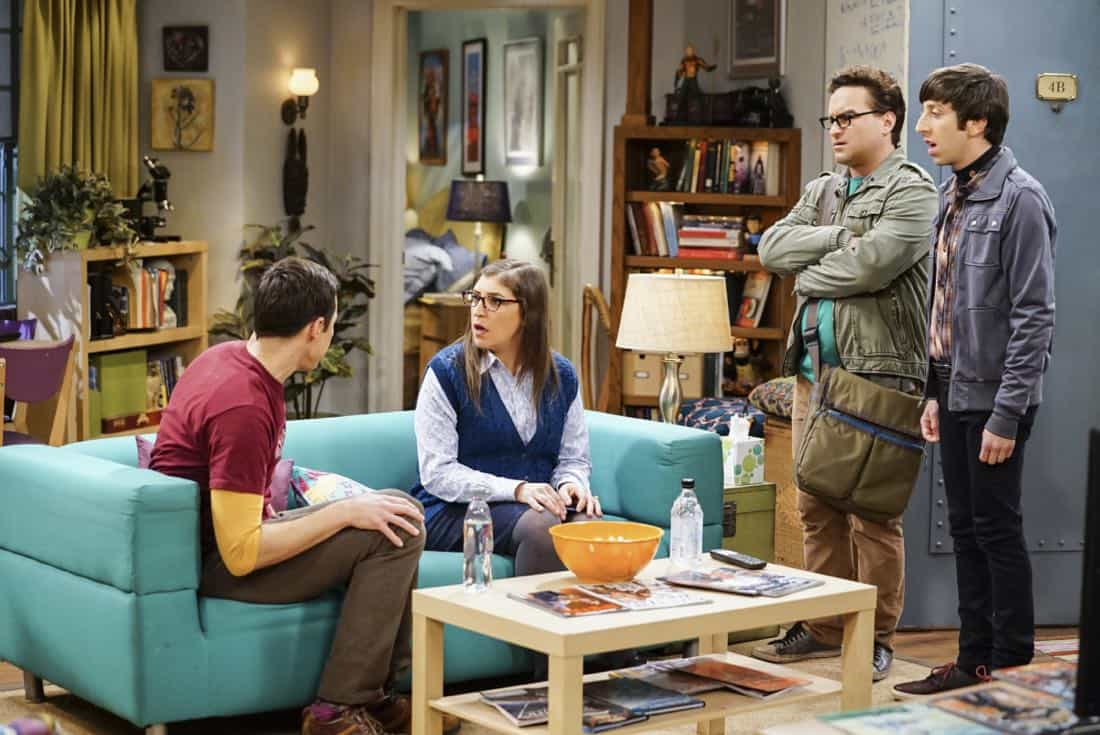 """""""The Tesla Recoil"""" -- Pictured: Sheldon Cooper (Jim Parsons), Amy Farrah Fowler (Mayim Bialik), Leonard Hofstadter (Johnny Galecki) and Howard Wolowitz (Simon Helberg). Leonard and Wolowitz are furious after they learn Sheldon went to work with the military behind their backs. Also, while Bernadette is on bed rest, she asks Raj to do some digging when she suspects Ruchi is trying to steal her job, on THE BIG BANG THEORY, Thursday, Nov. 16 (8:00-8:31 PM, ET/PT) on the CBS Television Network. Photo: Sonja Flemming/CBS ©2017 CBS Broadcasting, Inc. All Rights Reserved."""