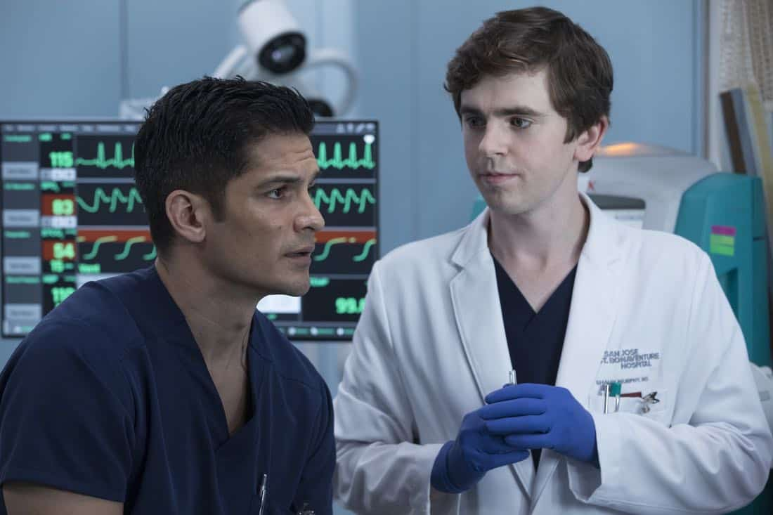 """THE GOOD DOCTOR - """"Apple"""" - During a robbery at the grocery mart Dr. Shaun Murphy is shopping at, his communication limitations puts lives at risk. Meanwhile, after Shaun's traumatic day, Dr. Aaron Glassman worries that he isn't doing enough to help Shaun, on """"The Good Doctor,"""" MONDAY, NOV. 20 (10:01-11:00 p.m. EST), on The ABC Television Network. (ABC/Jack Rowand) NICHOLAS GONZALES, FREDDIE HIGHMORE"""