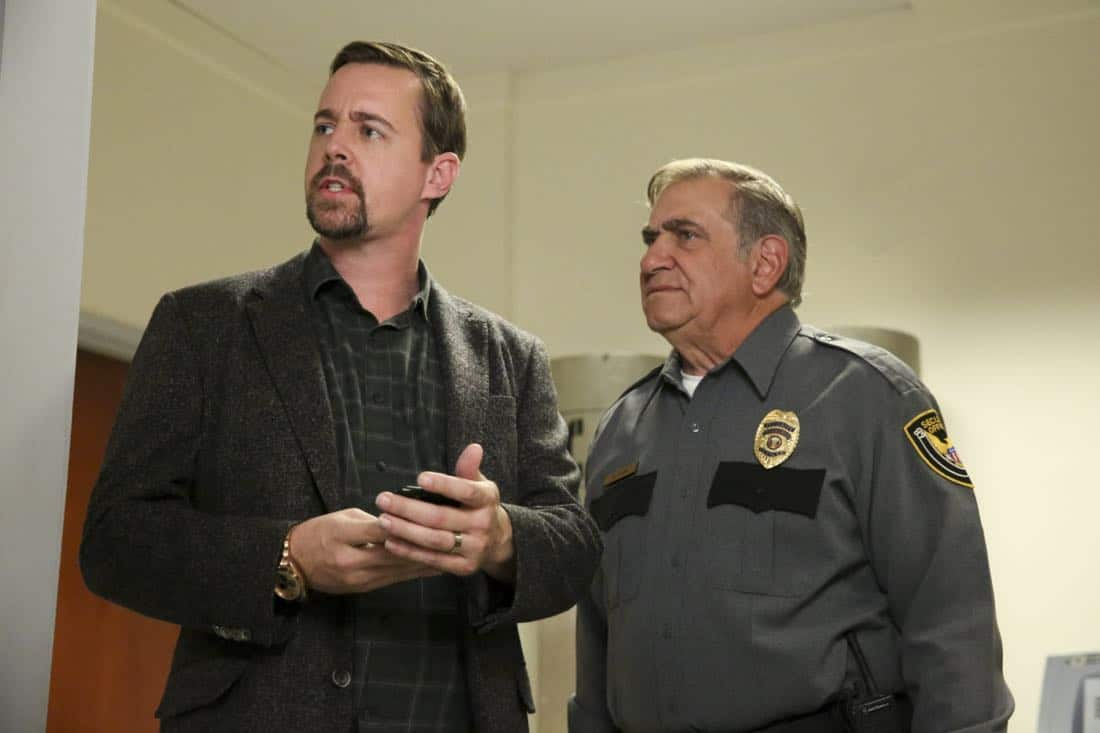 """""""Ready or Not"""" -- The team's Thanksgiving plans are put on hold while they track an elusive international arms dealer in D.C. who recently murdered an MI6 officer who was Sloane's close friend. Also, Abby races Delilah (Margo Harshman) to the hospital when her labor starts three weeks early, on NCIS, Tuesday, Nov. 21 (8:00-9:00 PM, ET/PT) on the CBS Television Network. Pictured: Sean Murray, Dan Lauria  Photo: Michael Yarish/CBS ©2017 CBS Broadcasting, Inc. All Rights Reserved"""