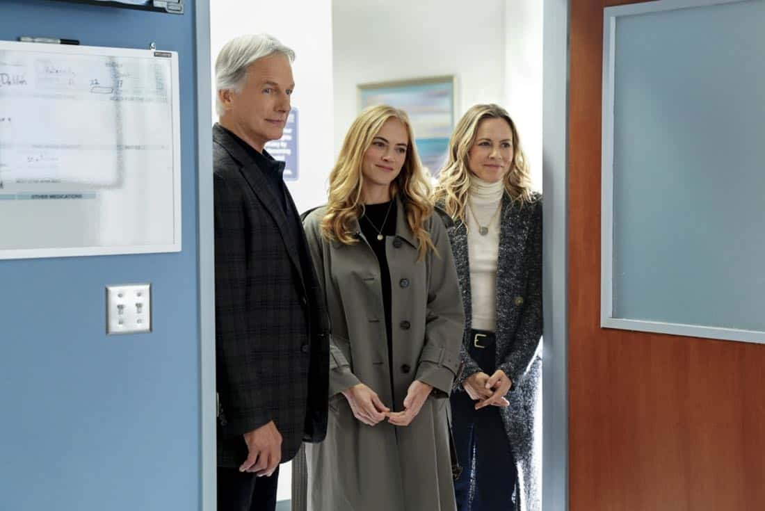 """""""Ready or Not"""" -- The team's Thanksgiving plans are put on hold while they track an elusive international arms dealer in D.C. who recently murdered an MI6 officer who was Sloane's close friend. Also, Abby races Delilah (Margo Harshman) to the hospital when her labor starts three weeks early, on NCIS, Tuesday, Nov. 21 (8:00-9:00 PM, ET/PT) on the CBS Television Network.Pictured: Mark Harmon, Emily Wickersham, Maria Bello.   Photo: Sonja Flemming/CBS ©2017 CBS Broadcasting, Inc. All Rights Reserved"""