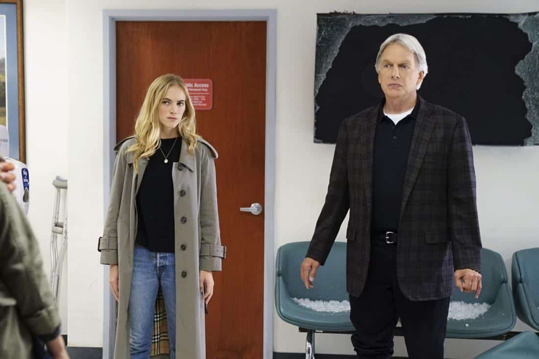 """""""Ready or Not"""" -- The team's Thanksgiving plans are put on hold while they track an elusive international arms dealer in D.C. who recently murdered an MI6 officer who was Sloane's close friend. Also, Abby races Delilah (Margo Harshman) to the hospital when her labor starts three weeks early, on NCIS, Tuesday, Nov. 21 (8:00-9:00 PM, ET/PT) on the CBS Television Network.Pictured: Emily Wickersham , Mark Harmon. Photo: Sonja Flemming/CBS ©2017 CBS Broadcasting, Inc. All Rights Reserved"""