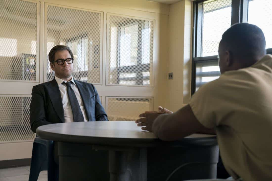 """Thanksgiving""-- As Thanksgiving approaches, Bull releases his team to enjoy the holiday with their families, only to find himself working a case solo when he agrees to help a boxer who is being tried for murder.  Also, Chunk makes a major personal decision at his family's Thanksgiving dinner, while Marissa's dinner with Kyle (Gary Wilmes) is abruptly cancelled when he is mugged, on BULL, Tuesday, Nov 21 (9:00-10:00 PM, ET/PT) on the CBS Television Network. Pictured L-R: Michael Weatherly as Dr. Jason Bull and Charles Brice as Bobby Lewis Photo: David Giesbrecht/CBS ©2017 CBS Broadcasting, Inc. All Rights Reserved"