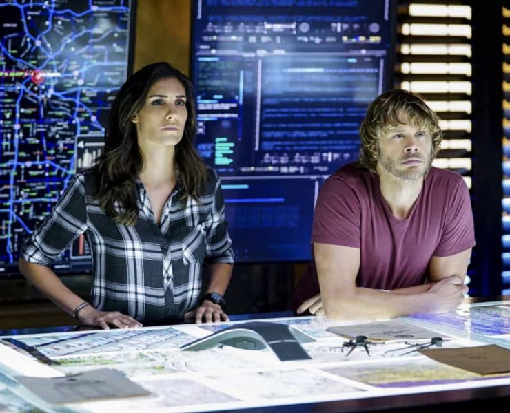 """This Is What We Do"" -- Pictured: Daniela Ruah (Special Agent Kensi Blye) and Eric Christian Olsen (LAPD Liaison Marty Deeks). The NCIS team must locate a group of unknown assailants who illegally crossed the border and attacked California Highway Patrol officers. Also, Homeland Security sends over Specialist Sydney Jones (Ashley Spiller), Nell's older and bossy sister, to assist NCIS with the case, on the 200th episode of NCIS: LOS ANGELES, Sunday, Nov. 19 (9:30-10:30 PM, ET/ 9:00-10:00 PM, PT) on the CBS Television Network. Guest stars include John M. Jackson as Admiral A.J. Chegwidden and Pamela Reed as Roberta Deeks, Deeks' mother. Photo: Sonja Flemming/CBS ©2017 CBS Broadcasting, Inc. All Rights Reserved."
