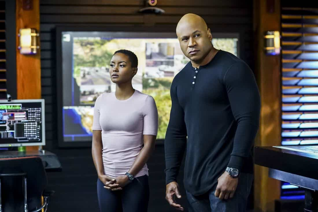 """""""This Is What We Do"""" -- Pictured: Andrea Bordeaux (NCIS Special Agent Harley Hidoko) and LL COOL J (Special Agent Sam Hanna). The NCIS team must locate a group of unknown assailants who illegally crossed the border and attacked California Highway Patrol officers. Also, Homeland Security sends over Specialist Sydney Jones (Ashley Spiller), Nell's older and bossy sister, to assist NCIS with the case, on the 200th episode of NCIS: LOS ANGELES, Sunday, Nov. 19 (9:30-10:30 PM, ET/ 9:00-10:00 PM, PT) on the CBS Television Network. Guest stars include John M. Jackson as Admiral A.J. Chegwidden and Pamela Reed as Roberta Deeks, Deeks' mother. Photo: Sonja Flemming/CBS ©2017 CBS Broadcasting, Inc. All Rights Reserved."""