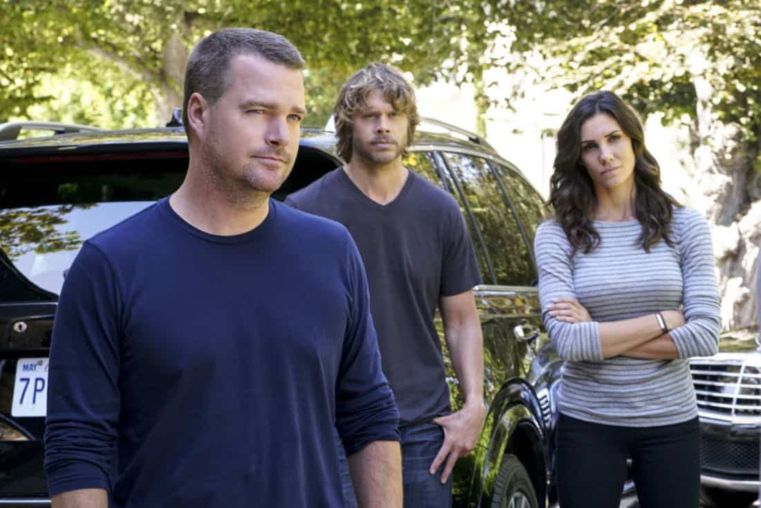 """""""Fool Me Twice"""" -- Pictured: Chris O'Donnell (Special Agent G. Callen), Eric Christian Olsen (LAPD Liaison Marty Deeks) and Daniela Ruah (Special Agent Kensi Blye). Callen and the team question CIA Agent Joelle Taylor's (Elizabeth Bogush) backstory after she escapes from a kidnapping and turns to Callen for help, on NCIS: LOS ANGELES, Sunday, Nov. 26 (9:30-10:30 PM, ET/9:00-10:00 PM, PT) on the CBS Television Network. Photo: Bill Inoshita/CBS ©2017 CBS Broadcasting, Inc. All Rights Reserved."""