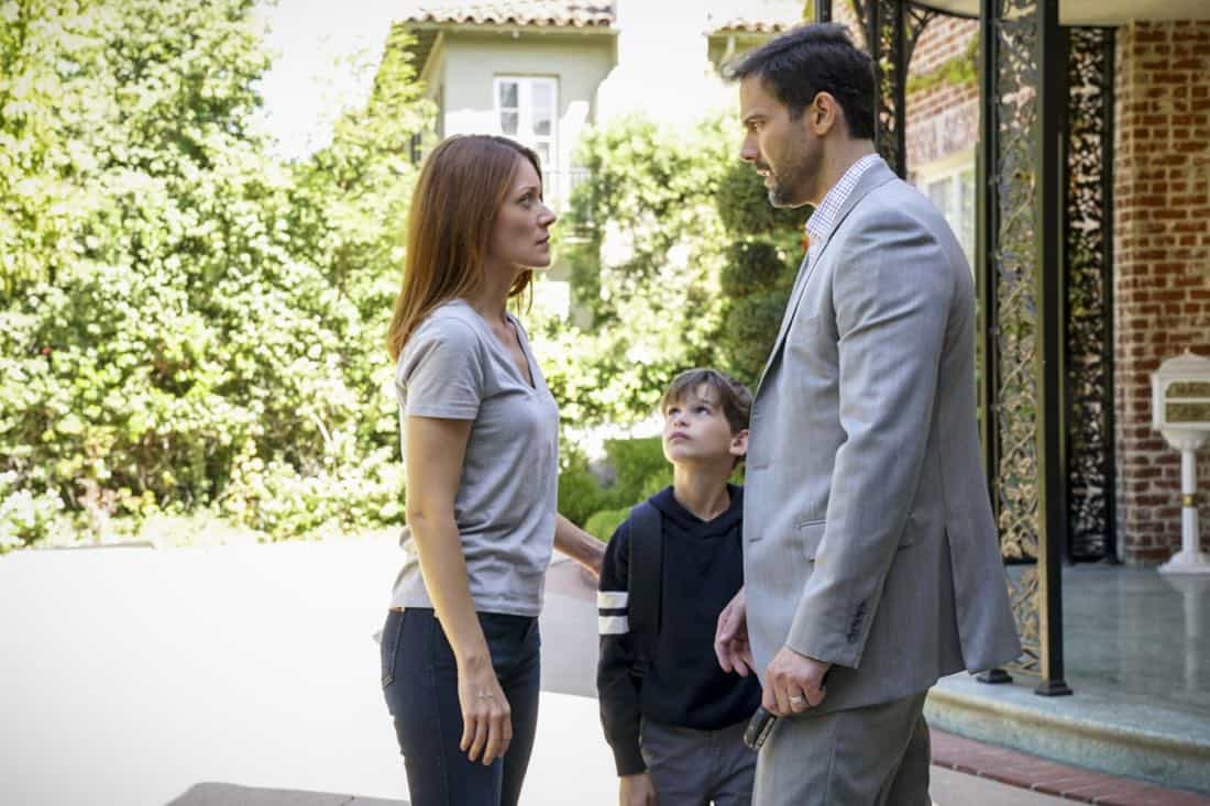 """""""Fool Me Twice"""" -- Pictured:  Elizabeth Bogush (Joelle Taylor / Beth) and Andrew Bowen (Nick). Callen and the team question CIA Agent Joelle Taylor's (Elizabeth Bogush) backstory after she escapes from a kidnapping and turns to Callen for help, on NCIS: LOS ANGELES, Sunday, Nov. 26 (9:30-10:30 PM, ET/9:00-10:00 PM, PT) on the CBS Television Network. Photo: Bill Inoshita/CBS ©2017 CBS Broadcasting, Inc. All Rights Reserved."""