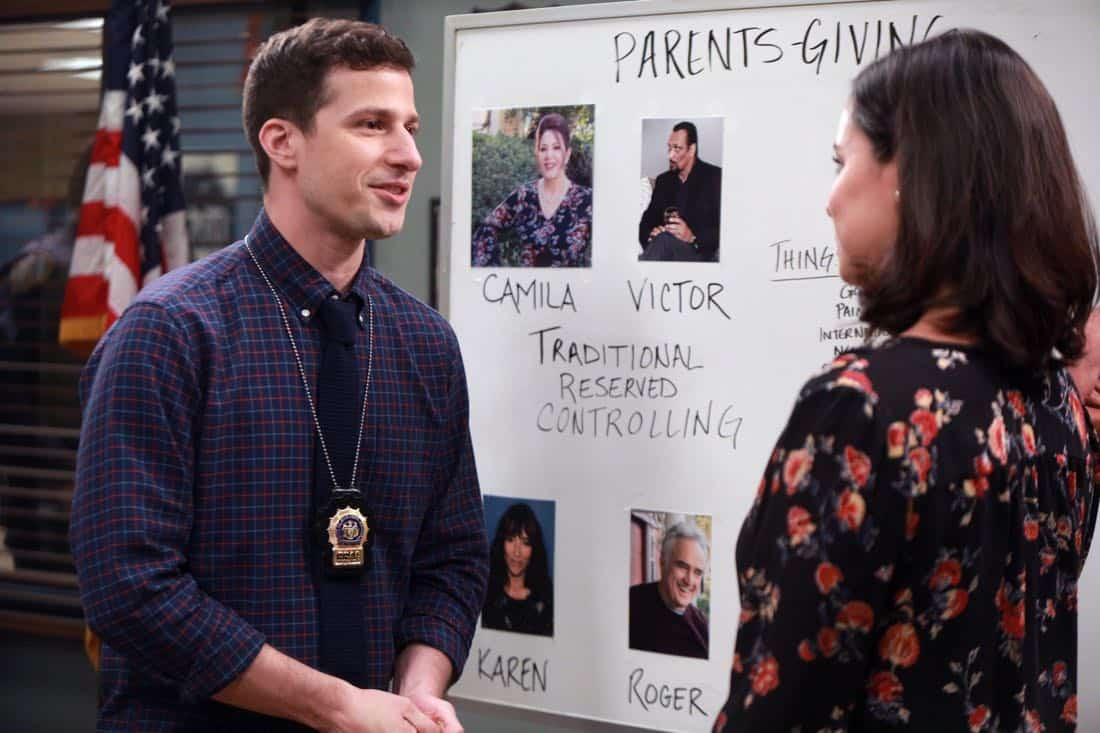 "BROOKLYN NINE-NINE: L-R: Andy Samberg and Melissa Fumero in the ""Two Turkeys"" episode of BROOKLYN NINE-NINE airing Tuesday, Nov. 21 (9:30-10:00 PM ET/PT) on FOX. CR: Jordin Althaus / FOX"