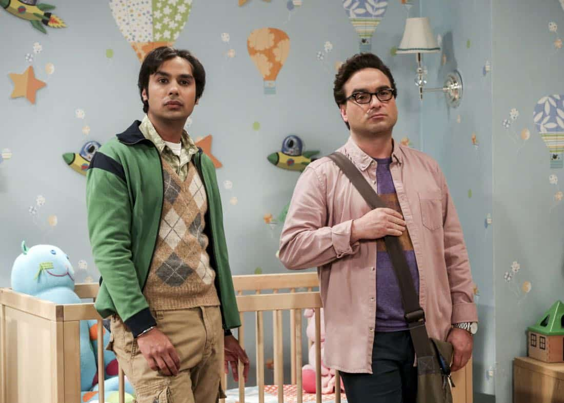 """""""The Bitcoin Entanglement"""" -- Pictured: Rajesh Koothrappali (Kunal Nayyar) and Leonard Hofstadter (Johnny Galecki). Sheldon tries to teach the guys a lesson after they cut him out of a potentially valuable Bitcoin investment. Also, a seven-year-old video reveals a secret about Leonard and Penny's relationship, on THE BIG BANG THEORY, Thursday, Nov. 30 (8:00-8:31 PM, ET/PT) on the CBS Television Network. Photo: Michael Yarish/Warner Bros. Entertainment Inc. © 2017 WBEI. All rights reserved."""