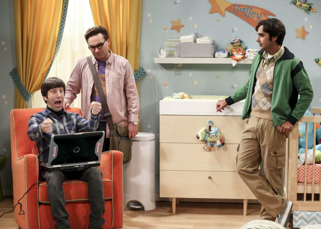 """""""The Bitcoin Entanglement"""" -- Pictured: Howard Wolowitz (Simon Helberg), Leonard Hofstadter (Johnny Galecki) and Rajesh Koothrappali (Kunal Nayyar). Sheldon tries to teach the guys a lesson after they cut him out of a potentially valuable Bitcoin investment. Also, a seven-year-old video reveals a secret about Leonard and Penny's relationship, on THE BIG BANG THEORY, Thursday, Nov. 30 (8:00-8:31 PM, ET/PT) on the CBS Television Network. Photo: Michael Yarish/Warner Bros. Entertainment Inc. © 2017 WBEI. All rights reserved."""