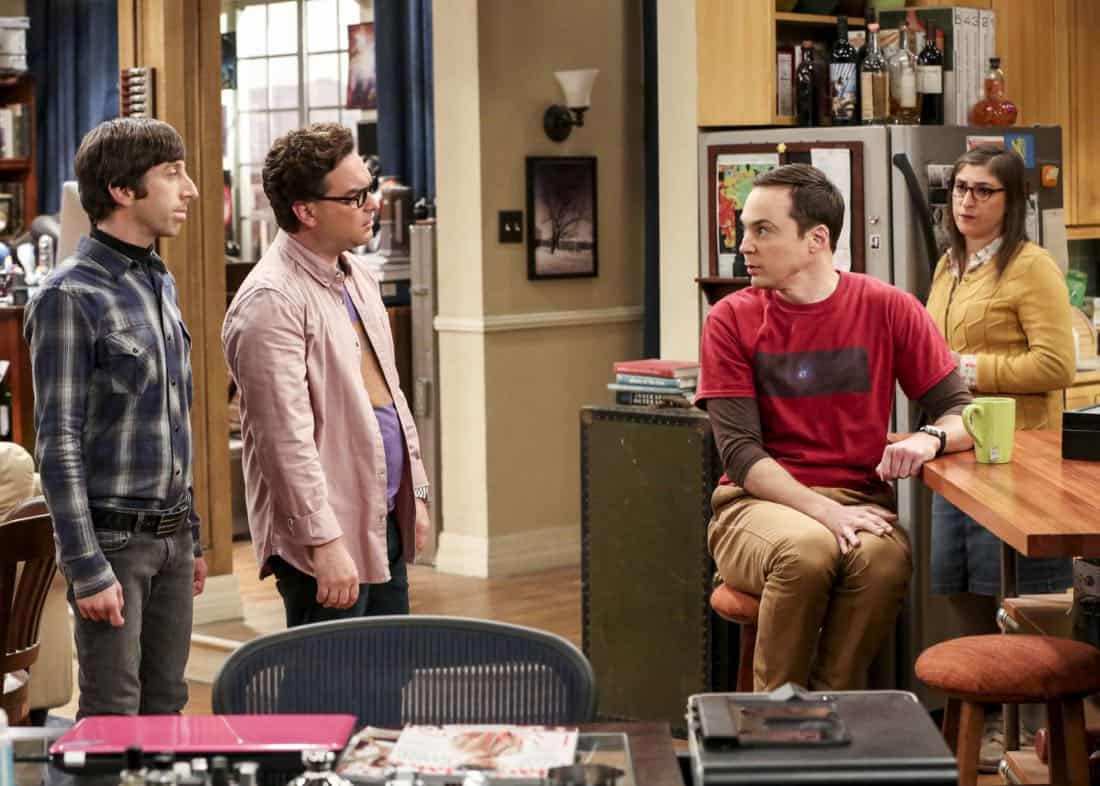 """""""The Bitcoin Entanglement"""" -- Pictured: Howard Wolowitz (Simon Helberg), Leonard Hofstadter (Johnny Galecki), Sheldon Cooper (Jim Parsons) and Amy Farrah Fowler (Mayim Bialik). Sheldon tries to teach the guys a lesson after they cut him out of a potentially valuable Bitcoin investment. Also, a seven-year-old video reveals a secret about Leonard and Penny's relationship, on THE BIG BANG THEORY, Thursday, Nov. 30 (8:00-8:31 PM, ET/PT) on the CBS Television Network. Photo: Michael Yarish/Warner Bros. Entertainment Inc. © 2017 WBEI. All rights reserved."""