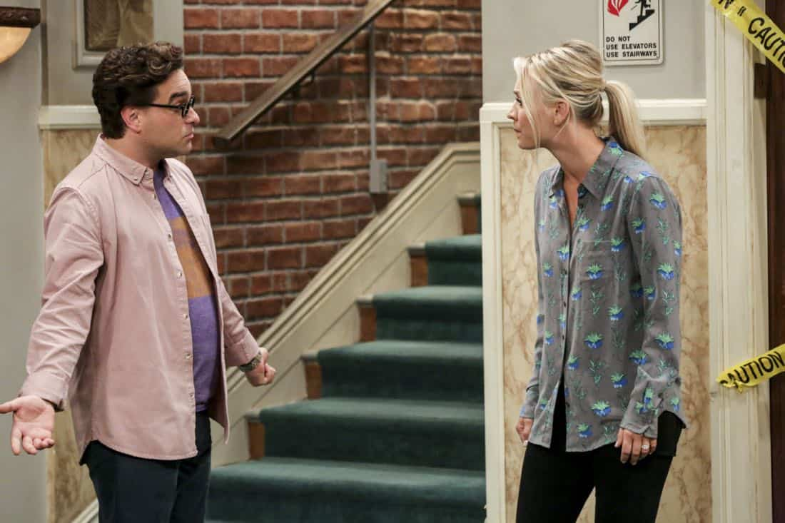 """""""The Bitcoin Entanglement"""" -- Pictured: Leonard Hofstadter (Johnny Galecki) and Penny (Kaley Cuoco). Sheldon tries to teach the guys a lesson after they cut him out of a potentially valuable Bitcoin investment. Also, a seven-year-old video reveals a secret about Leonard and Penny's relationship, on THE BIG BANG THEORY, Thursday, Nov. 30 (8:00-8:31 PM, ET/PT) on the CBS Television Network. Photo: Michael Yarish/Warner Bros. Entertainment Inc. © 2017 WBEI. All rights reserved."""