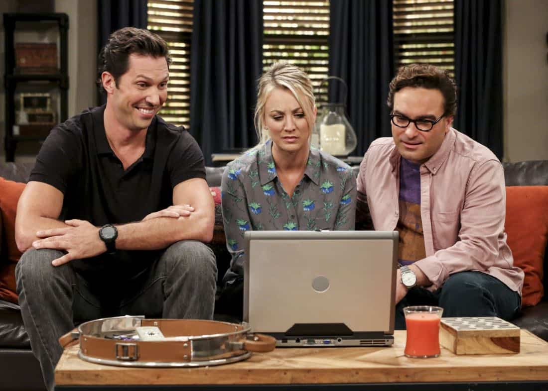 """""""The Bitcoin Entanglement"""" -- Pictured: Penny (Kaley Cuoco) and Leonard Hofstadter (Johnny Galecki). Sheldon tries to teach the guys a lesson after they cut him out of a potentially valuable Bitcoin investment. Also, a seven-year-old video reveals a secret about Leonard and Penny's relationship, on THE BIG BANG THEORY, Thursday, Nov. 30 (8:00-8:31 PM, ET/PT) on the CBS Television Network. Photo: Michael Yarish/Warner Bros. Entertainment Inc. © 2017 WBEI. All rights reserved."""