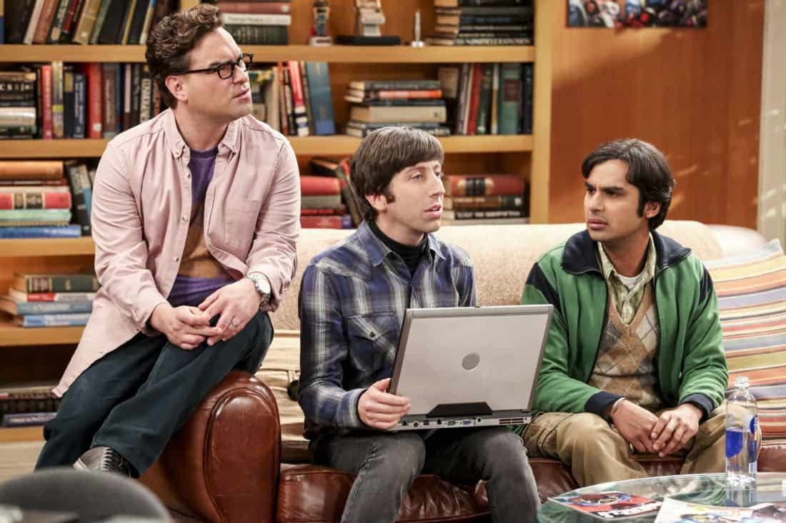 """""""The Bitcoin Entanglement"""" -- Pictured: Leonard Hofstadter (Johnny Galecki), Howard Wolowitz (Simon Helberg) and Rajesh Koothrappali (Kunal Nayyar). Sheldon tries to teach the guys a lesson after they cut him out of a potentially valuable Bitcoin investment. Also, a seven-year-old video reveals a secret about Leonard and Penny's relationship, on THE BIG BANG THEORY, Thursday, Nov. 30 (8:00-8:31 PM, ET/PT) on the CBS Television Network. Photo: Michael Yarish/Warner Bros. Entertainment Inc. © 2017 WBEI. All rights reserved."""