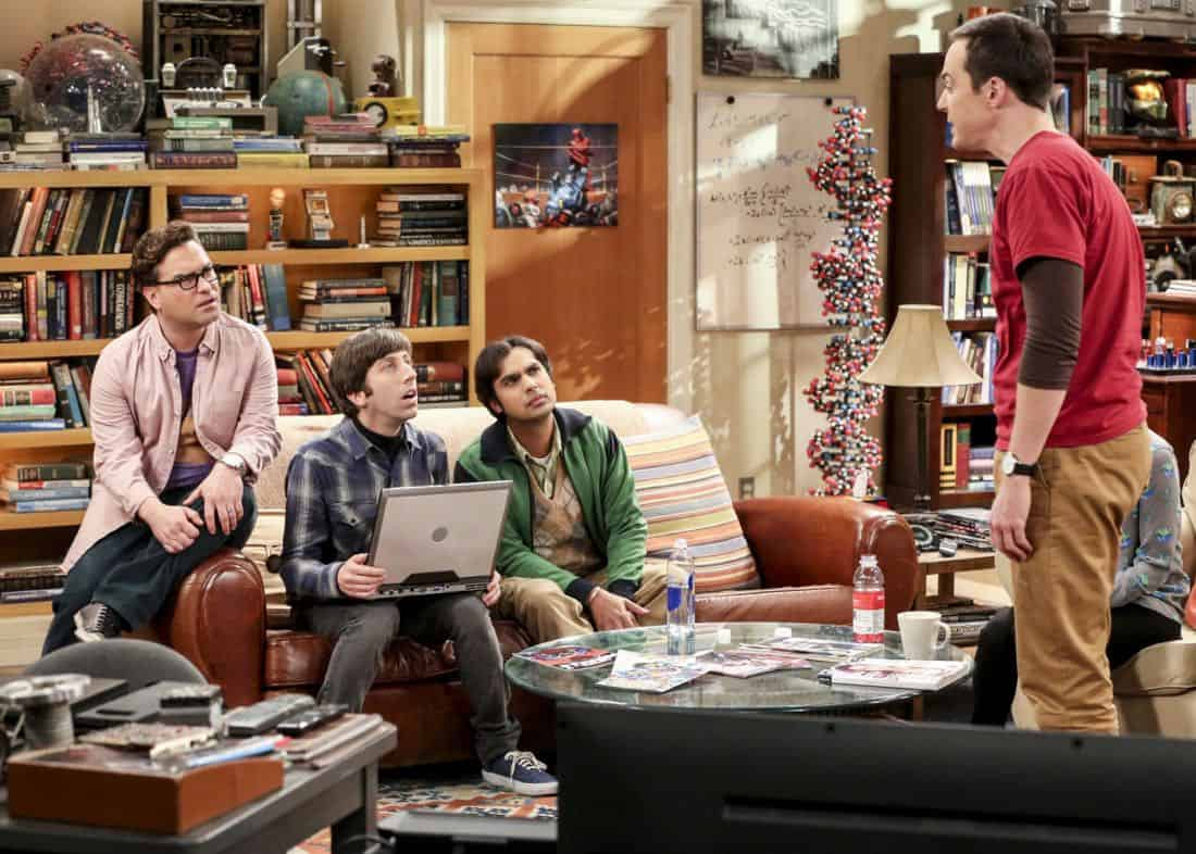 """""""The Bitcoin Entanglement"""" -- Pictured: Leonard Hofstadter (Johnny Galecki), Howard Wolowitz (Simon Helberg), Rajesh Koothrappali (Kunal Nayyar) and Sheldon Cooper (Jim Parsons). Sheldon tries to teach the guys a lesson after they cut him out of a potentially valuable Bitcoin investment. Also, a seven-year-old video reveals a secret about Leonard and Penny's relationship, on THE BIG BANG THEORY, Thursday, Nov. 30 (8:00-8:31 PM, ET/PT) on the CBS Television Network. Photo: Michael Yarish/Warner Bros. Entertainment Inc. © 2017 WBEI. All rights reserved."""