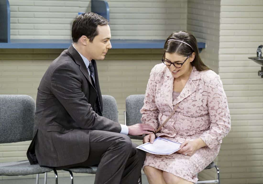 """The Confidence Erosion"" -- Pictured: Sheldon Cooper (Jim Parsons) and Amy Farrah Fowler (Mayim Bialik). Sheldon and Amy try to eliminate stress from wedding planning by applying math to the process. Also, Koothrappali ""breaks up"" with Wolowitz after realizing his best friend is actually hurting his confidence, on THE BIG BANG THEORY, Thursday, Dec. 7 (8:00-8:31 PM, ET/PT) on the CBS Television Network. Photo: Monty Brinton/CBS ©2017 CBS Broadcasting, Inc. All Rights Reserved."