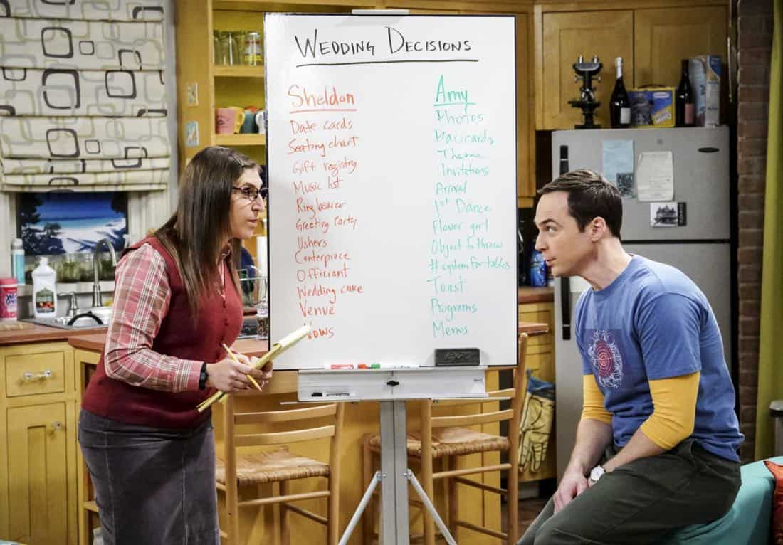 """The Confidence Erosion"" -- Pictured: Amy Farrah Fowler (Mayim Bialik) and Sheldon Cooper (Jim Parsons). Sheldon and Amy try to eliminate stress from wedding planning by applying math to the process. Also, Koothrappali ""breaks up"" with Wolowitz after realizing his best friend is actually hurting his confidence, on THE BIG BANG THEORY, Thursday, Dec. 7 (8:00-8:31 PM, ET/PT) on the CBS Television Network. Photo: Monty Brinton/CBS ©2017 CBS Broadcasting, Inc. All Rights Reserved."