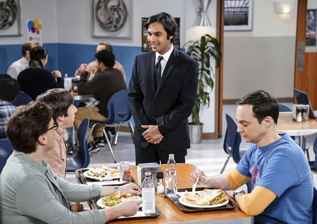 """The Confidence Erosion"" -- Pictured: Leonard Hofstadter (Johnny Galecki), Howard Wolowitz (Simon Helberg), Rajesh Koothrappali (Kunal Nayyar) and Sheldon Cooper (Jim Parsons). Sheldon and Amy try to eliminate stress from wedding planning by applying math to the process. Also, Koothrappali ""breaks up"" with Wolowitz after realizing his best friend is actually hurting his confidence, on THE BIG BANG THEORY, Thursday, Dec. 7 (8:00-8:31 PM, ET/PT) on the CBS Television Network. Photo: Monty Brinton/CBS ©2017 CBS Broadcasting, Inc. All Rights Reserved."