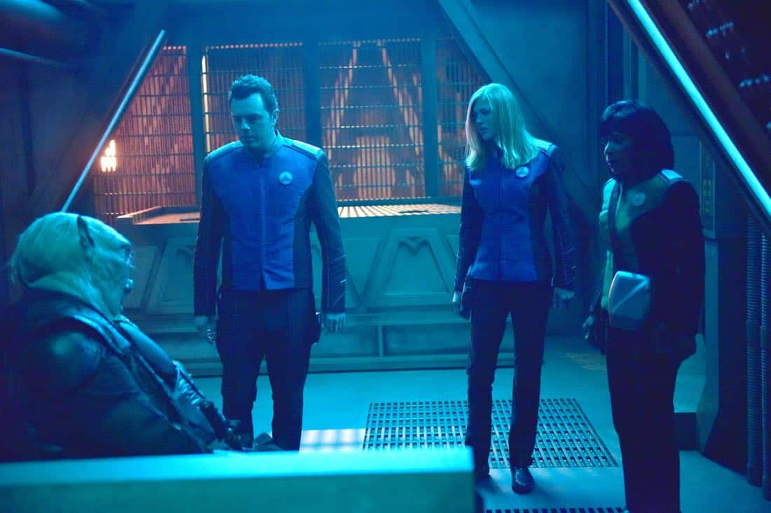 "THE ORVILLE:  L-R: Guest star Paul Vogt, Seth MacFarlane, Adrianne Palicki and Penny Johnson Jerald in the ""New Dimensions"" episode of THE ORVILLE airing Thursday, Nov. 30 (9:01-10:00 PM ET/PT) on FOX.  ©2017 Fox Broadcasting Co.  Cr:  Michael Becker/FOX"