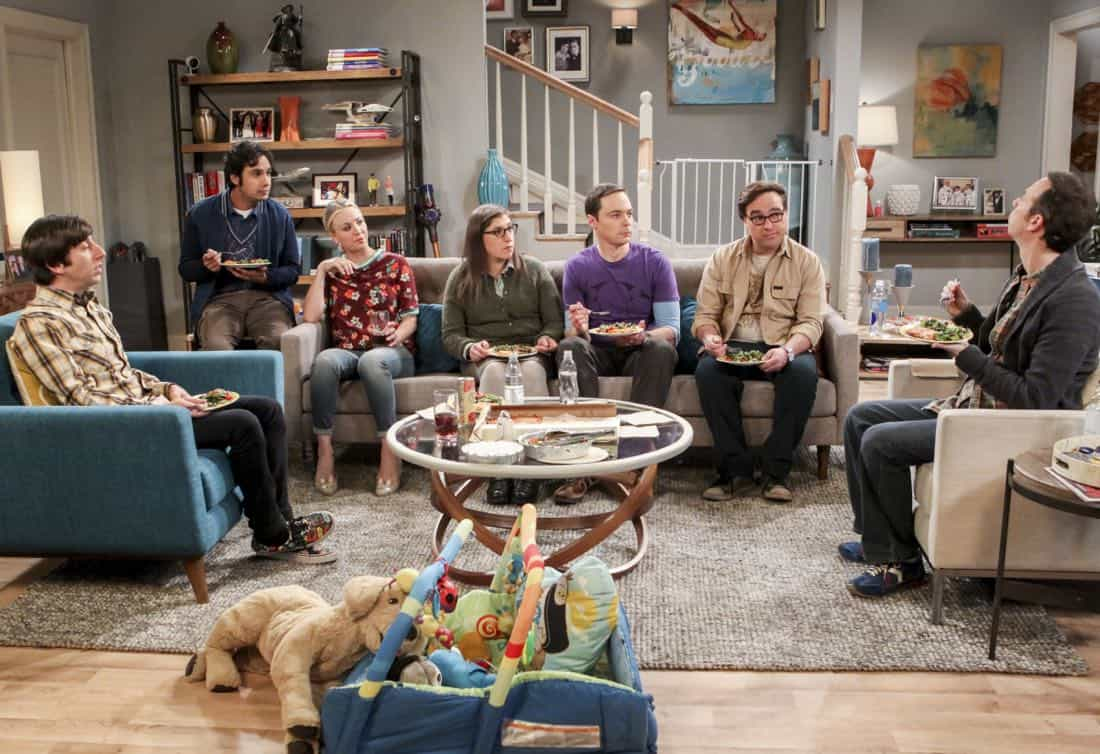 """""""The Matrimonial Metric"""" -- Pictured: Howard Wolowitz (Simon Helberg), Rajesh Koothrappali (Kunal Nayyar), Penny (Kaley Cuoco), Amy Farrah Fowler (Mayim Bialik), Sheldon Cooper (Jim Parsons), Leonard Hofstadter (Johnny Galecki) and Stuart (Kevin Sussman). To discover who would be most qualified to be best man and maid of honor at their wedding, Sheldon and Amy subject their friends to a series of secret experiments. Also, Penny reveals her true feelings about Amy, on THE BIG BANG THEORY, Thursday, Jan. 4 (8:00-8:31 PM, ET/PT) on the CBS Television Network. Photo: Sonja Flemming/CBS ©2017 CBS Broadcasting, Inc. All Rights Reserved."""