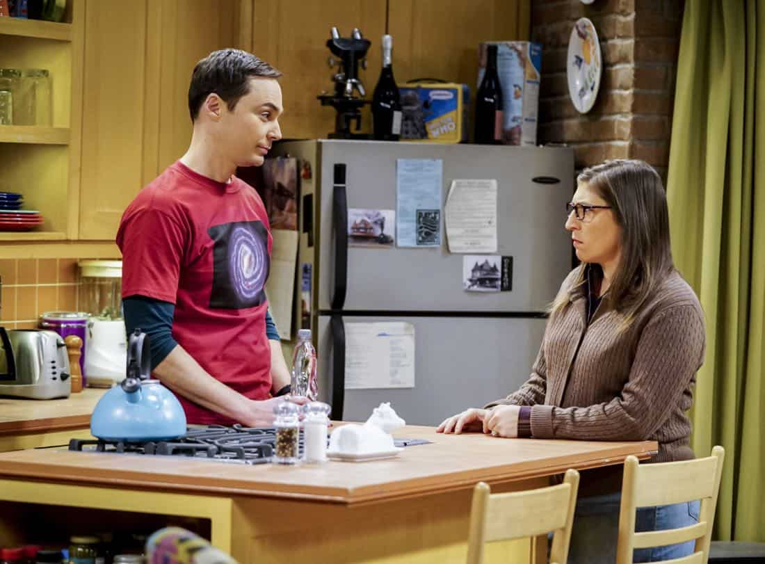 """""""The Matrimonial Metric"""" -- Pictured: Sheldon Cooper (Jim Parsons) and Amy Farrah Fowler (Mayim Bialik). To discover who would be most qualified to be best man and maid of honor at their wedding, Sheldon and Amy subject their friends to a series of secret experiments. Also, Penny reveals her true feelings about Amy, on THE BIG BANG THEORY, Thursday, Jan. 4 (8:00-8:31 PM, ET/PT) on the CBS Television Network. Photo: Sonja Flemming/CBS ©2017 CBS Broadcasting, Inc. All Rights Reserved."""
