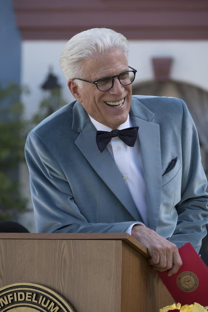 """THE GOOD PLACE -- """"Leap Into Faith"""" Episode 209 -- Pictured: Ted Danson as Michael -- (Photo by: Colleen Hayes/NBC)"""