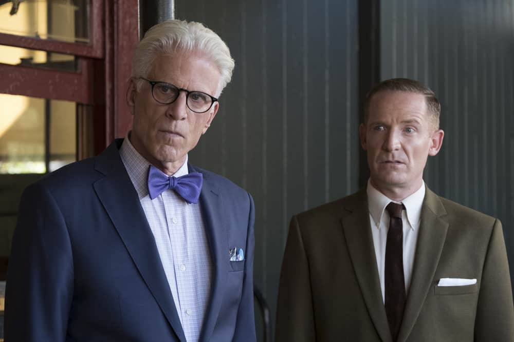 """THE GOOD PLACE -- """"Leap Into Faith"""" Episode 209 -- Pictured: (l-r) Ted Danson as Michael, Marc Evan Jackson as Shawn -- (Photo by: Colleen Hayes/NBC)"""