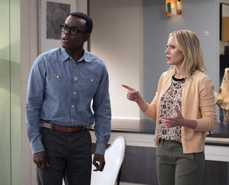 """THE GOOD PLACE -- """"Leap Into Faith"""" Episode 209 -- Pictured: (l-r) William Jackson Harper as Chidi, Kristen Bell as Eleanor -- (Photo by: Colleen Hayes/NBC)"""