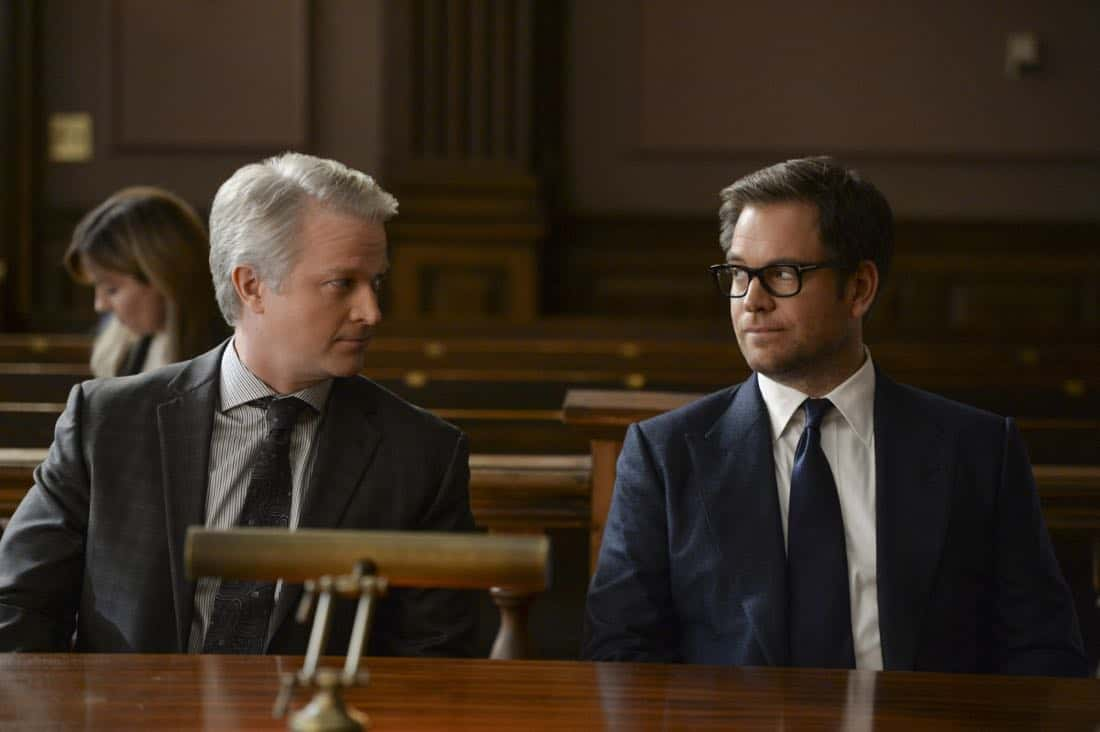 """Grey Areas""-- Bull takes on a psychologist friend, Dr. Donovan Benanti (C.J. Wilson), as a client when the therapist is sued for malpractice following a patient's deadly rampage. As Bull worries a trial loss could set new precedent regarding doctor-patient confidentiality, he aims to convince the jury that clinicians aren't directly responsible for their patients' actions, on BULL, Tuesday, Jan. 9 (9:00-10:00PM, ET/PT) on the CBS Television Network. Pictured L-R: C.J. Wilson as Dr. Benanti and Michael Weatherly as Dr. Jason Bull Photo: Jojo Whilden/CBS ©2017 CBS Broadcasting, Inc. All Rights Reserved"