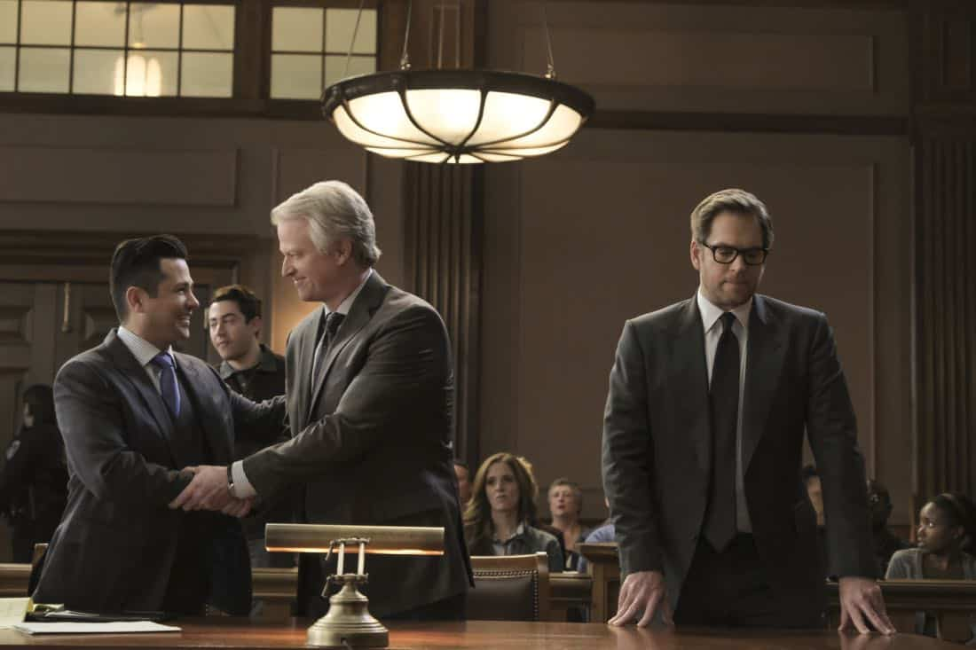 """Grey Areas""-- Bull takes on a psychologist friend, Dr. Donovan Benanti (C.J. Wilson), as a client when the therapist is sued for malpractice following a patient's deadly rampage. As Bull worries a trial loss could set new precedent regarding doctor-patient confidentiality, he aims to convince the jury that clinicians aren't directly responsible for their patients' actions, on BULL, Tuesday, Jan. 9 (9:00-10:00PM, ET/PT) on the CBS Television Network. Pictured L-R: Freddy Rodriguez as Benny Colón, C.J. Wilson as Dr. Benanti, and Michael Weatherly as Dr. Jason Bull Photo: Jojo Whilden/CBS ©2017 CBS Broadcasting, Inc. All Rights Reserved"